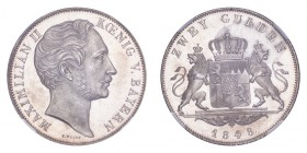 GERMANY: BAVARIA. Maximilian II, 1848-64. 2 Gulden (Doppelgulden) 1848, Munich. 21.21 g. J-83. First date in series and a better date. Lovely piece wi...