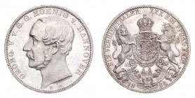 GERMANY: HANNOVER. George V, 1851-66. Taler 1864-B, Hannover. Thun-174; J-96; Dav-682; AKS-144. Prooflike fields. Mint state.