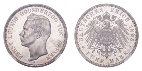 GERMANY: HESSE-DARMSTADT. Ernst Ludwig, 1892-1918. 5 Mark 1895-A, Berlin. 27.77 g. J-73. Lovely brilliance and cartwheel effect. // Stempelglanz. Prac...