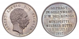 GERMANY: SAXONY. Albert, 1873-1902. 2 Mark 1892-E, Muldenhutten. Royal visit to Muldenhutten. 11.11 g. Mintage 1,004. J-127. Struck to commemorate the...