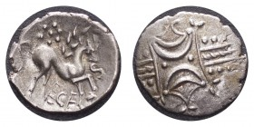 GREAT BRITAIN: CELTIC. Iceni , Stepping horse type, Ecen, c.10-43? a.d. silver Unit, ECE below horse right, rev. opposing crescents on vertical wreath...