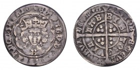 GREAT BRITAIN. Edward IV, 1461-1483. Groat , Bristol, first reign, mm. crown, B on breast, quatrefoils by neck, rev. lis after DEVM, 2.94g, S.2004, N....