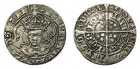 GREAT BRITAIN. Henry VII, 1485-1509. Groat , Facing bust, type IIIc, crown with one plain and one jewelled arch, mm. anchor, 2.75g, S.2199, N.1705c. A...