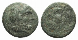 Northern Lucania, Velia, 4th-2nd centuries BC. Æ (12mm, 2.37g, 12h). Laureate head of Zeus r. R/ Owl standing facing, wings spread. HNItaly 1326; SNG ...