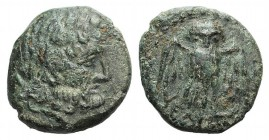 Northern Lucania, Velia, 4th-2nd centuries BC. Æ (12mm, 2.18g, 6h). Laureate head of Zeus r. R/ Owl standing facing, wings spread. HNItaly 1326; SNG A...