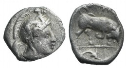 Southern Lucania, Thourioi, c. 400-350 BC. AR Triobol (11mm, 1.06g, 11h). Helmeted head of Athena r., helmet decorated with Skylla holding trident. R/...