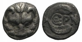Bruttium, Rhegion, c. 415/0-387 BC. AR Litra (8mm, 0.68g, 9h). Facing lion's head. R/ PH within olive sprig. HNItaly 2499. VF