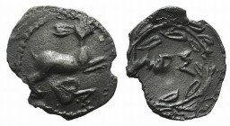 Sicily, Messana, c. 445-421 BC. AR Litra (11mm, 0.30g, 3h). Hare springing r.; ivy leaf below. R/ MEΣ within wreath. HGC 2, 814. Flan chipped, otherwi...