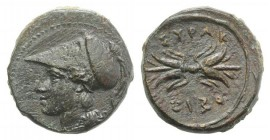 Sicily, Syracuse, c. 305-295 BC. Æ Trias (12mm, 2.32g, 11h), c. 304-289. Head of Athena l., wearing Corinthian helmet. R/ Winged thunderbolt. CNS II, ...