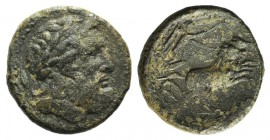 Sicily, Syracuse. Roman rule, after 212 BC. Æ (21mm, 6.70g, 12h). Laureate head of Zeus r.; grain ear behind behind. R/ Nike driving galloping biga r....