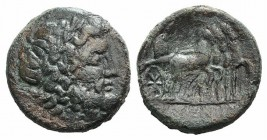 Sicily, Syracuse. Roman rule, after 212 BC. Æ (23mm, 8.85g, 1h). Laureate head of Zeus r. R/ Simulacrum driving slow quadriga. CNS II, 230; SNG ANS 10...
