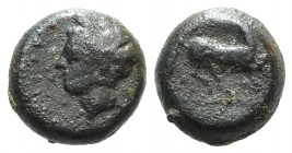 Sicily, Carthaginian Domain, c. 375-350 BC. Æ (9mm, 1.30g, 9h). Wreathed head of Tanit l. R/ Horse prancing r. HGC 2, 1677. Near VF