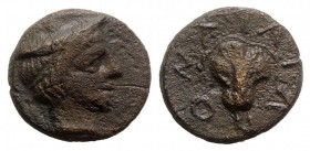 Macedon, Tragilos, c. 400 BC. Æ (15mm, 3.97g, 12h). Head of Hermes r., wearing petasos. R/ Rose. Cf. SNG ANS 907-13. VF