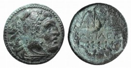 Kings of Macedon. Alexander III 'the Great' (336-323 BC). Æ (19mm, 5.37g, 3h). Uncertain mint in Western Asia Minor. Head of Herakles r., wearing lion...