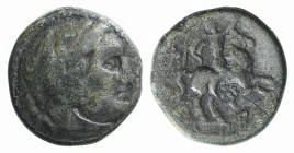 Kings of Macedon, Philip III (323-317 BC). Æ Unit (18mm, 5.39g, 12h). Uncertain mint in Macedon. Head of Herakles r., wearing lion skin. R/ Horseman r...