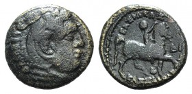 Kings of Macedon, Kassander (316-297 BC). Æ (19mm, 6.06g, 6h). Head of Herakles r., wearing lion's skin. R/ Ephebus galloping r., holding wreath; belo...