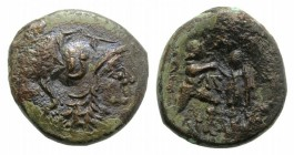 Kings of Macedon, Antigonos II Gonatas (277/6-239 BC). Æ (19mm, 6.87g, 2h). Uncertain Macedonian mint. Helmeted head of Athena r. R/ Pan standing r., ...
