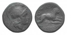 Kings of Thrace, Lysimachos (305-281 BC). Æ (19mm, 4.70g, 12h). Helmeted head of Athena r. R/ Lion leaping r.; kerykeion, monogram and spear-head belo...