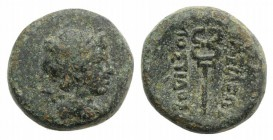 Kings of Thrace, Local Dynasts. Mostidos (c. 125-85/79 BC). Æ (12mm, 3.24g, 11h). Laureate head of Apollo r. R/ Kerykeion. SNG BM Black Sea 313. Green...