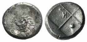 Thrace, Chersonesos, c. 386-338 BC. AR Hemidrachm (12mm, 2.51g). Forepart of lion r., head reverted. R/ Quadripartite incuse square with alternating r...
