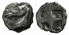 Asia Minor, Uncertain, 5th century BC. AR Tetartemorion (5mm, 0.21 g). Horse's head l. R/ Quadripartite incuse square. Cf. Tzamalis 92 (Thraco-Macedon...