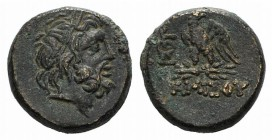 Pontos, Amisos, time of Mithradates VI, c. 85-65 BC. Æ (19mm, 9.04g, 12h). Laureate head of Zeus r. R/ Eagle standing l., head r., on thunderbolt; mon...
