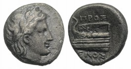 Bithynia, Kios, c. 350-300 BC. AR Hemidrachm (12mm, 2.15g, 12h). Heroxenos, magistrate. Laureate head of Apollo r. R/ Prow of galley l. RG 3 var. (mag...