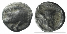 Mysia, Kyzikos, c. 525-475 BC. AR Tetartemorion (6mm, 0.28g, 12h). Forepart of boar l.; tunny to r. R/ Head of roaring lion l., within incuse square. ...