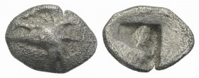 Mysia, Kyzikos, c. 500 BC. AR Hemiobol (8mm, 0.39g). Head of tunny r. R/ Quadripartite incuse square. Von Fritze II 2; SNG BnF 356; SNG von Aulock 732...