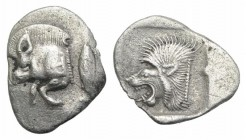 Mysia, Kyzikos, c. 450-400 BC. AR Obol (12mm, 0.77g, 3h). Forepart of boar l.; to r., tunny upward. R/ Head of lion l. within incuse square. Von Fritz...