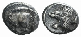 Mysia, Kyzikos, c. 450-400 BC. AR Diobol (9mm, 1.10g, 12h). Forepart of boar l.; to r., tunny upward. R/ Head of roaring lion l. within incuse square....