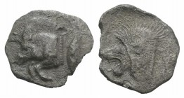 Mysia, Kyzikos, c. 450-400 BC. AR Obol (11mm, 0.63g, 9h). Forepart of boar l.; to r., tunny upward. R/ Head of lion l. within incuse square. Von Fritz...