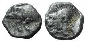 Mysia, Kyzikos, c. 450-400 BC. AR Obol (8mm, 0.78g, 3h). Forepart of boar l.; to r., tunny upward. R/ Head of lion l. within incuse square; [K above]....