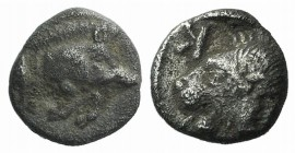 Mysia, Kyzikos, c. 450-400 BC. AR Hemiobol (6mm, 0.39g, 7h). Forepart of boar r.; tunny to l. R/ Head of roaring lion l., retrograde K to l.; all with...