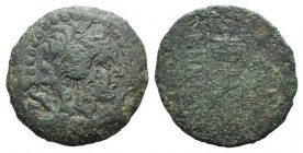 Mysia, Kyzikos, c. 2nd-1st century BC. Æ (27mm, 12.62g, 12h). Laureate head of Apollo r.; c/m: eagle standing r. R/ Tripod; in l. field, monogram. Cf....