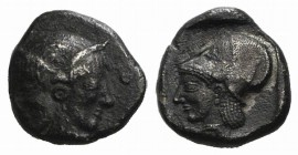 Mysia, Lampsakos, c. 500-450 BC. AR Diobol (9mm, 1.17g, 9h). Female janiform head. R/ Helmeted head of Athena l. within incuse square. SNG BnF 1126. D...