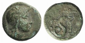 Kings of Pergamon, Philetairos (282-263 BC). Æ (13mm, 4.79g). Helmeted head of Athena r. R/ Coiled serpent. SNG BnF 1658; BMC 76-77. Green patina, Fin...