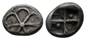 Asia Minor, Uncertain mint. Late 6th-early 5th centuries BC. AR Diobol(?) (9mm-1.10 g). Rosette / Incuse square with windmill pattern. Unpublished in ...