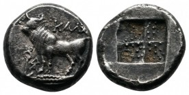 Bithynia, Kalchedon. c.367/6-340 BC. Drachm (14 mm-3.80 g), Rhodian standard. KAΛX Bull standing left on grain ear; to left, kerykeion and ΔA monogram...
