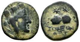 Cilicia, Soloi. ca.150-50 BC. AE (18mm, 4.09g). Turreted and veiled bust of Tyche right. / ΣOΛEΩN, filleted piloi of the Dioskouroi surmounted by star...