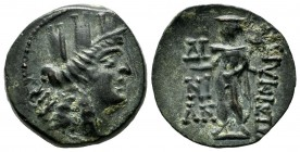 Cilicia. Korykos, circa 150-50 BC. AE (20mm, 6.00g). Magistrates. AN. Head of Tyche right, wearing mural crown / ΔI / NI / AN / KΩPYKIΩTΩN. Hermes sta...