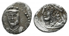 Cilicia. Uncertain mint, circa 400 BC. AR Obol (9mm, 0.72g). Draped bust, wearing satrapal headdress, facing slightly left; star to left / Crowned and...