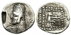 Hellenistic Monarchies, The Parthian Kingdom - Orodes I. Ca. 80-77 BC. AR Drachm (17mm, 3.35g). Rhagae. Bust wearing a tiara with eight pointed star i...
