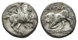 Ionia, Magnesia ad Maeandrum, ca. 350-325 BC. AR Hemidrachm (10mm, 1.48g). Skythos, magistrate. Horseman with couched spear right / Bull butting left....