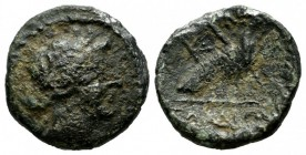 Ionia, Samos. ca.29-20 BC. Æ (16mm, 2.90g). Head of Hera right, wearing stephane. / ΣΑΜΙΩΝ. Peacock standing right on caduceus; monogram before, fille...