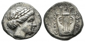 Ionia. Kolophon. Ca 350-290 BC, magistrate. AR Drachm (15mm, 2.98g). Laureate head of Apollo right / Kithara. Milne, Colophon-; SNG Copenhagen-