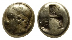 Ionia. Phokaia, circa 477-388 BC. EL Hekte (9mm, 2.44g). Head of young male left, wearing tainia, [small seal behind] / Quadripartite incuse square. B...