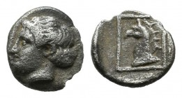 Ionia. Phokaia. Circa 420-380 BC. AR Hemiobol (7mm, 0,22g). Head of Apollo left / Head of griffin left within linear square. SNG Copenhagen 1033 var.