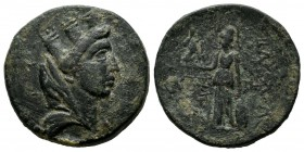 Kings Of Cilicia. Philopator. Circa 17 BC. AE (22mm, 7.87g). Veiled and turreted bust of Tyche right / Athena standing left, holding Nike and shield; ...