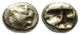 Kings Of Lydia. Alyattes II to Kroisos. Late 7th-mid 6th century BC. EL Hemihekte - 1/12 Stater (9mm, 1.64g). Sardes mint. Head of roaring lion right;...